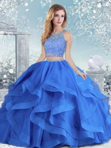 Luxury Long Sleeves Organza Floor Length Clasp Handle 15th Birthday Dress in Royal Blue with Beading and Ruffles