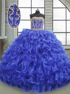 Latest Royal Blue Sleeveless Floor Length Beading and Appliques and Ruffles Lace Up 15th Birthday Dress