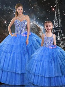 Floor Length Baby Blue Sweet 16 Quinceanera Dress Organza and Tulle Sleeveless Ruffled Layers