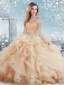 Peach Clasp Handle Scoop Beading and Ruffles 15 Quinceanera Dress Organza Sleeveless