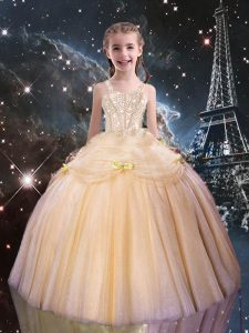 Graceful Floor Length Ball Gowns Sleeveless Peach Pageant Gowns For Girls Lace Up