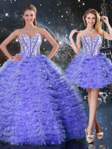Fashion Sweetheart Sleeveless Ball Gown Prom Dress Floor Length Embroidery Purple Organza