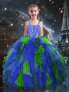 Blue Lace Up Straps Beading and Ruffles Kids Pageant Dress Tulle Sleeveless