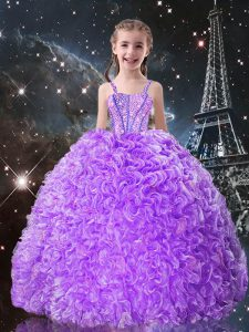 Straps Sleeveless Little Girls Pageant Dress Floor Length Beading and Ruffles Lilac Organza