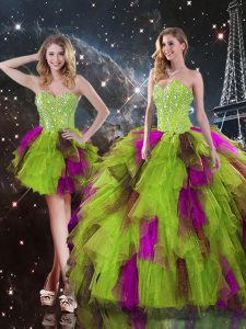 Multi-color Tulle Lace Up Quinceanera Gowns Sleeveless High Low Ruffles