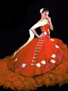 Captivating Rust Red Sleeveless Taffeta Brush Train Lace Up Quinceanera Dress for Military Ball and Sweet 16 and Quinceanera