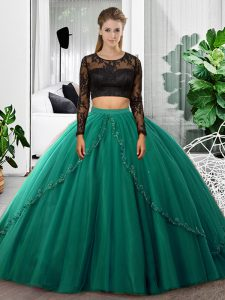 Deluxe Dark Green Tulle Backless Vestidos de Quinceanera Long Sleeves Floor Length Lace and Ruching