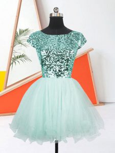 Mini Length Apple Green Prom Dress Scoop Short Sleeves Lace Up