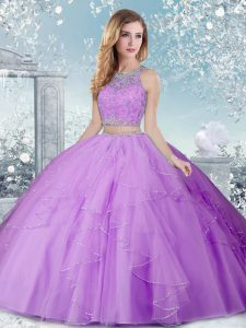 Floor Length Clasp Handle Quince Ball Gowns Lavender for Military Ball and Sweet 16 and Quinceanera with Beading
