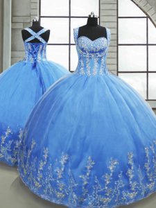 Baby Blue Sleeveless Beading and Appliques Floor Length 15th Birthday Dress