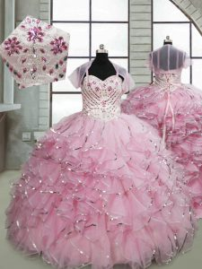 Hot Sale Baby Pink Spaghetti Straps Lace Up Beading and Ruffles Little Girls Pageant Dress Brush Train Sleeveless