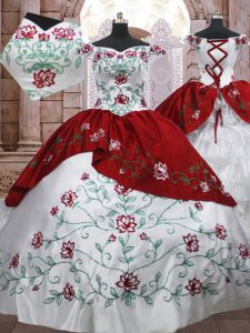 Pretty Taffeta Off The Shoulder Sleeveless Lace Up Embroidery and Ruffled Layers Quinceanera Gowns in White And Red