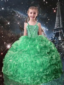 Turquoise Ball Gowns Straps Sleeveless Organza Floor Length Lace Up Beading and Ruffles Kids Formal Wear