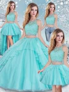 Gorgeous Floor Length Aqua Blue 15 Quinceanera Dress Tulle Sleeveless Lace and Sequins