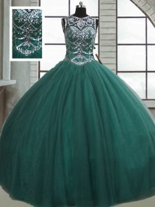 Dark Green Ball Gowns Beading Vestidos de Quinceanera Lace Up Tulle Sleeveless Floor Length