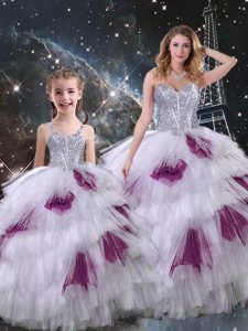 Custom Made Floor Length Lace Up Sweet 16 Quinceanera Dress Multi-color for Military Ball and Sweet 16 and Quinceanera with Beading and Ruffled Layers