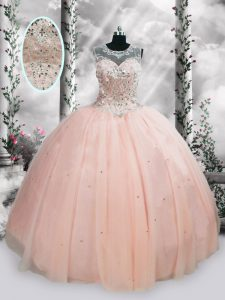 Colorful Tulle Scoop Sleeveless Lace Up Beading and Sequins Quinceanera Gowns in Pink