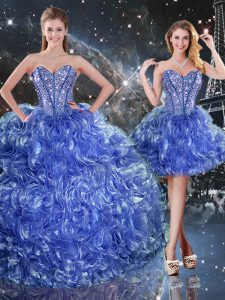 Blue 15 Quinceanera Dress Military Ball and Sweet 16 and Quinceanera with Beading and Ruffles Sweetheart Sleeveless Lace Up