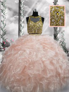 Custom Made Scoop Sleeveless Organza Quince Ball Gowns Beading and Ruffles Zipper