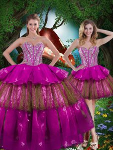 Multi-color Ball Gowns Sweetheart Sleeveless Organza Floor Length Lace Up Beading and Ruffled Layers and Sequins Ball Gown Prom Dress
