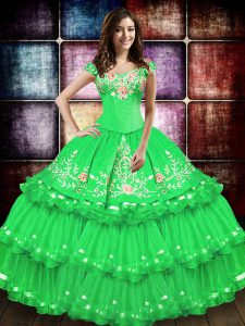 Floor Length Ball Gowns Sleeveless Green Quince Ball Gowns Lace Up