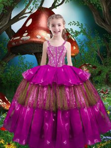 Fuchsia Straps Lace Up Beading and Ruffled Layers Child Pageant Dress Sleeveless