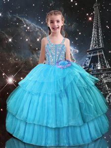 Floor Length Lace Up Girls Pageant Dresses Aqua Blue for Quinceanera and Wedding Party with Beading and Ruffled Layers