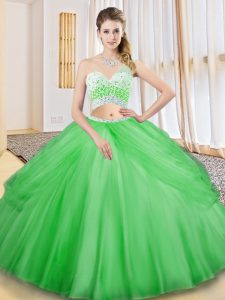 Customized One Shoulder Sleeveless Tulle Sweet 16 Dresses Beading and Ruching and Pick Ups Criss Cross