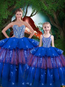 Fashionable Blue Ball Gowns Organza Sweetheart Sleeveless Beading and Ruffled Layers Floor Length Lace Up Sweet 16 Dress