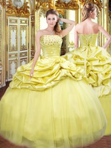 Ideal Gold Taffeta Lace Up Strapless Sleeveless Floor Length 15 Quinceanera Dress Beading and Pick Ups
