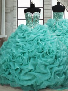 Sleeveless Organza Brush Train Lace Up Quinceanera Gown in Turquoise with Beading and Pick Ups