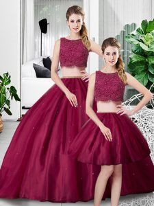 Fuchsia Tulle Zipper 15 Quinceanera Dress Sleeveless Floor Length Lace and Ruching