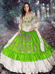 Sleeveless Floor Length Embroidery and Ruffled Layers Lace Up Sweet 16 Quinceanera Dress