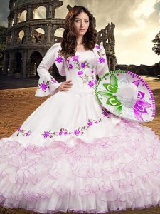 Long Sleeves Organza Floor Length Lace Up Sweet 16 Dress in White with Embroidery and Ruffled Layers