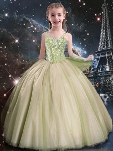 Classical Straps Sleeveless Tulle Little Girl Pageant Gowns Beading Lace Up