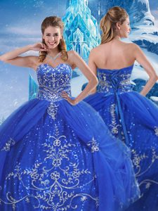 Fitting Beading and Appliques Vestidos de Quinceanera Blue Lace Up Sleeveless Floor Length