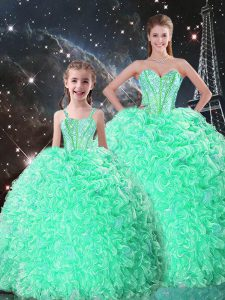 Apple Green Sleeveless Floor Length Beading and Ruffles Lace Up Vestidos de Quinceanera