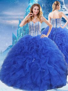 Royal Blue Ball Gowns Organza Sweetheart Sleeveless Beading and Ruffles and Sequins Floor Length Lace Up Sweet 16 Quinceanera Dress