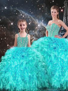 Smart Sweetheart Sleeveless Lace Up Sweet 16 Quinceanera Dress Aqua Blue Organza