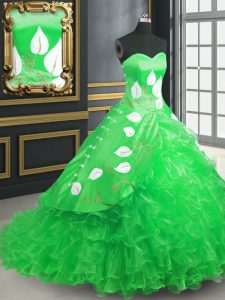 Cute Sweetheart Sleeveless Organza Ball Gown Prom Dress Embroidery and Ruffles Brush Train Lace Up