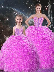 High Quality Lilac Organza Lace Up Sweetheart Sleeveless Floor Length Sweet 16 Dress Beading and Ruffles