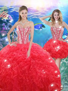 Discount Floor Length Ball Gowns Sleeveless Coral Red Vestidos de Quinceanera Lace Up