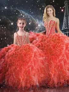 Sweetheart Sleeveless Lace Up 15 Quinceanera Dress Coral Red Organza