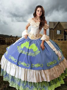 Sleeveless Brush Train Lace Up Embroidery and Ruffled Layers Quinceanera Dress