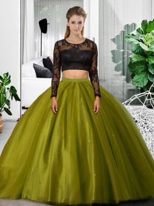 Romantic Olive Green Long Sleeves Tulle Backless Quince Ball Gowns for Military Ball and Sweet 16 and Quinceanera