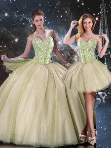 Multi-color Ball Gowns Sweetheart Sleeveless Tulle Floor Length Lace Up Beading 15th Birthday Dress