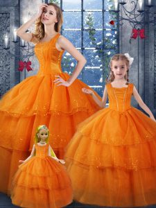 Orange Organza Lace Up Quince Ball Gowns Sleeveless Floor Length Ruffled Layers