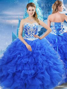 Spectacular Sweetheart Sleeveless Organza Quinceanera Dresses Beading and Ruffles Lace Up