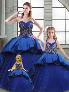 Lace Up Quinceanera Gowns Blue for Military Ball and Sweet 16 and Quinceanera with Beading and Appliques and Embroidery Court Train