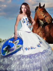 Floor Length Lace Up 15 Quinceanera Dress White for Military Ball and Sweet 16 and Quinceanera with Embroidery and Ruffled Layers